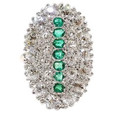 Antique Emerald Diamond Ring Circa 1900's Old European Cut Diamonds & Emeralds Cocktail Statement Ring 14k Platinum