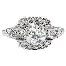 Art Deco Vintage Engagement Ring Circa 1930's .82ct. t.w. Old European Cut Diamond Wedding Anniversary Ring Platinum