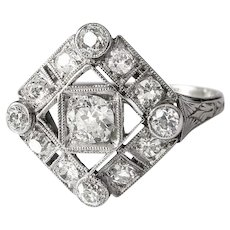 RESERVED UNTIL 7/22---Art Deco Engagement Ring Circa 1930's .72ct t.w. Vintage Old Wedding Anniversary Ring Platinum