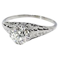 Art Deco .67ct. Vintage Old European Cut Diamond Solitaire Filigree Engagement Ring Platinum