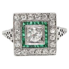 Art Deco Engagement Ring .83ct t.w. Circa 1930's Diamond & Lab Emerald Engagement Wedding Ring 18k White Gold - Red Tag Sale Item