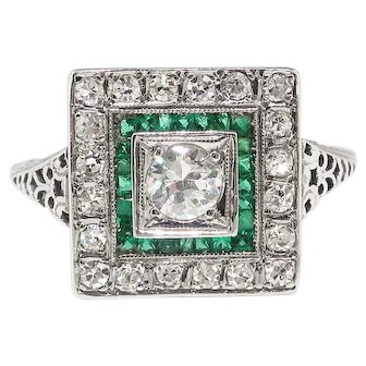 Art Deco Engagement Ring .83ct t.w. Circa 1930's Diamond & Lab Emerald Engagement Wedding Ring 18k White Gold