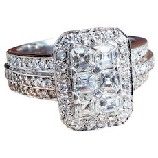 Estate Bez Ambar Flame Diamond Ring 2ct t.w. Pave' Cluster Ring 18k White Gold Anniversary Wedding Engagement Band