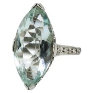 Art Deco Aquamarine Ring Circa 1930's Vintage 5.49ct Marquise Birthstone Cocktail Wedding Filigree Ring 18k White Gold