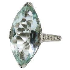 Art Deco Aquamarine Ring Circa 1930's Vintage 5.49ct Marquise Birthstone Cocktail Wedding Filigree Ring 18k White Gold