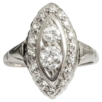 Vintage Diamond Navette Ring .69ct t.w. Circa 1930's Old Cut Cocktail Statement Ring 14k White Gold