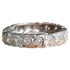 Art Deco Diamond Band Circa 1930's .66ct t.w. Eternity Stacking Wedding Anniversary Ring Platinum Size 6.25 - Red Tag Sale Item