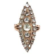 Huge Antique Rose Cut Diamond Navette Ring Circa 1900's 1.08ct t.w. 10k Rose Gold Unique Cocktail Statement Ring