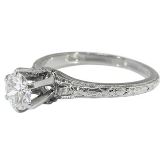 Art Deco Belais Engagement Ring Circa 1930's .45ct Old European Cut Diamond Solitaire Filigree Wedding Ring 18k White Gold