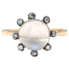 Antique Moonstone Diamond Ring Victorian 2.11ct t.w. Rose Cut Diamond Halo Unique Cocktail Statement Engagement Ring