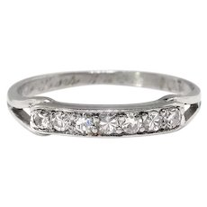 Art Deco Diamond Band .14ct t.w. Circa 1930's Eternity Stacking Wedding Anniversary Ring Platinum