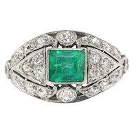Vintage Emerald Diamond Ring Circa 1930's 2.36ct t.w. Emerald Cut Cocktail Birthstone Platinum Ring