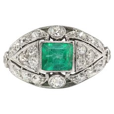 Vintage Emerald Diamond Ring Circa 1930's 2.36ct t.w. Emerald Cut Cocktail Birthstone Platinum Ring