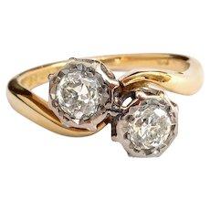 Vintage Toi Et Moi Diamond Engagement Ring Circa 1970's .56ct t.w. Old European Cut Bypass Ring 18k Yellow White Gold