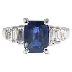 Sapphire Diamond Engagement Ring Estate 2.30ct t.w. Cocktail Birthstone Anniversary Wedding Ring 18k White Gold