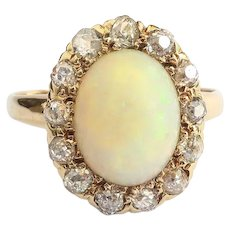 Antique Opal Diamond Ring Circa 1880's Victorian 2.51ct t.w. Natural Opal Diamond Halo Engagement Ring 14k Yellow Gold
