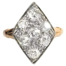 Antique Diamond Ring Circa 1915 Edwardian 1.47ct t.w. Old Mine Diamond Shield Navette Cocktail Ring 14k Platinum