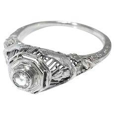 Art Deco Engagement Ring Circa 1930's .18ct Diamond Solitaire Filigree Bird Motif Vintage Ring 18k White Gold
