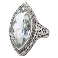 Art Deco Aquamarine Ring Circa 1930's Vintage 3.30ct Marquise Birthstone Cocktail Wedding Filigree Ring 18k White Gold
