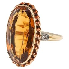 Antique Citrine Diamond Ring 6.03ct t.w. Edwardian Birthstone Statement Ring 14k Yellow Gold