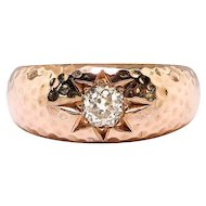 Rare Diamond Wedding Ring Circa 1900's .50ct Old European Cut Bailey Banks Biddle Hammered Rose Gold Solitaire Ring 14k