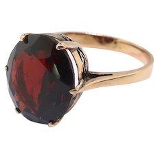 Antique 7ct Oval Garnet Solitaire Ring Circa 1920's Edwardian Birthstone Statement Ring 12k Rose Gold