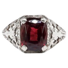 Art Deco Garnet Ring Circa 1930's 2.62ct Cushion Cut Engagement Birthstone Statement Vintage Ring 14k White Gold