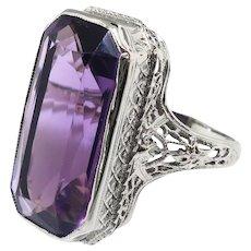 Art Deco Emerald Cut Amethyst Solitaire Ring Circa 1928 9.85ct Vintage Birthstone Statement Ring 14k White Gold