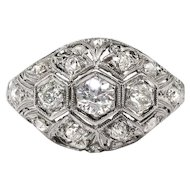 Art Deco Engagement Ring Circa 1930's 1.07ct t.w. Vintage Old Wedding Anniversary Ring Platinum