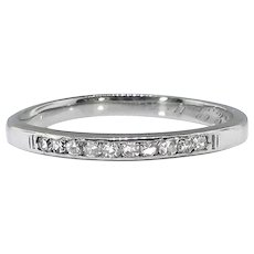 Art Deco Wedding Band .20ct t.w. Diamond Channel Set Milgrain Band Platinum
