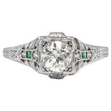 Art Deco Engagement Ring Circa 1930's .51ct Diamond Emerald Filigree Hand Engraved Wedding Anniversary Vintage Ring Platinum