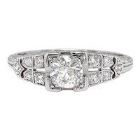 Art Deco Engagement Ring Circa 1930's .64ct Diamond Filigree Hand Engraved Wedding Anniversary Vintage Ring Platinum