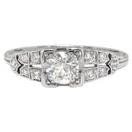 Art Deco Engagement Ring Circa 1930's .64ct Diamond Filigree Hand Engraved Wedding Anniversary Vintage Ring Platinum