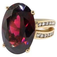 Vintage Garnet Diamond Ring Circa 1980's 13.85ct t.w. Huge Oval Birthstone Statement Engagement Ring 14k Yellow Gold