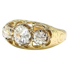 Art Deco Diamond Engagement Anniversary Ring Circa 1930's .97ct t.w. Vintage Diamond Three Stone Ring 18k