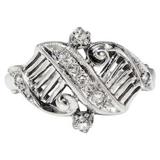 Art Deco Diamond Ring Circa 1930's Vintage Filigree Unique Statement Cocktail Anniversary Ring 14k White Gold