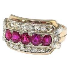 Vintage Ruby Diamond Ring Circa 1940's 1.15ct t.w. Birthstone Cocktail Statement Men's Ring 14k Yellow White Gold