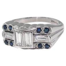 Art Deco Diamond Ring Circa 1930's .78ct t.w. Baguette Cut Diamond Blue Sapphire Ring Platinum