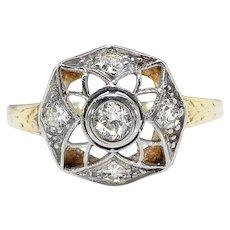 Antique Diamond Engagement Ring Art Nouveau Circa 1900's .22 ct.tw. Filigree Ring 10k Yellow Gold Platinum