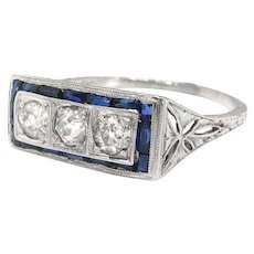 Art Deco Diamond Sapphire Ring Circa 1930's 1.04ct t.w. Filigree Unique Engagement Wedding Ring Platinum