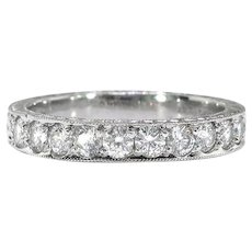 Estate Diamond Wedding Band .50ct t.w. Wide Bead Pave' Set Hand Engraved Stacking Anniversary Ring Platinum