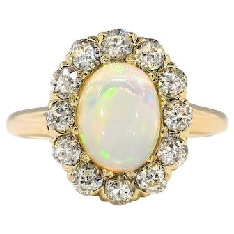 Antique Opal Diamond Ring Circa 1920's Edwardian 1.53ct t.w. Old European Cut Diamond Halo Statement Unique Engagement Ring 14k Yellow Gold