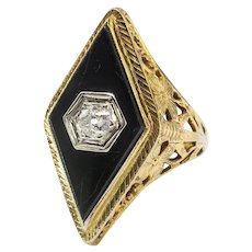 Art Deco Onyx Diamond Ring Circa 1930's .16ct Old European Cut Diamond Filigree Navette Vintage Cocktail Anniversary Ring 14k Yellow Gold