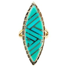 Vintage Turquoise Navajo Ring Zuni Don Viola Eriacho Statement Cocktail Boho Chic Ring 14k Yellow Gold