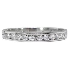 Antique Diamond Wedding Band Circa 1920's .30ct t.w. Old Hand Engraved Edwardian Stacking Anniversary Ring Platinum