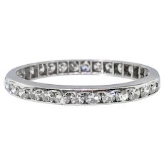Art Deco Diamond Wedding Band Circa 1930's 1.02ct t.w. Engraved Eternity Stacking Anniversary Band Ring Size 5.75 Platinum