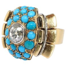 Vintage Turquoise Diamond Ring Circa 1940's 2.29ct t.w. Bombe' Cocktail Right Hand Birthstone Ring 18k Yellow Gold Platinum