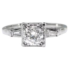 Vintage Diamond Engagement Ring Circa 1950's .62ct t.w. Jabel Anniversary Wedding Ring 18k White Gold