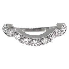 Rare Art Deco Vintage .23ct t.w. Diamond Curved Wedding Band Granat Bros. Circa 1930's Platinum Ring