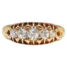 Antique Diamond Wedding Band Circa 1902 .39ct t.w. Old European Cut Diamond Anniversary Stacking Ring 18k Yellow Gold